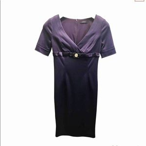 Versace purple silk dress with gold Versace logo